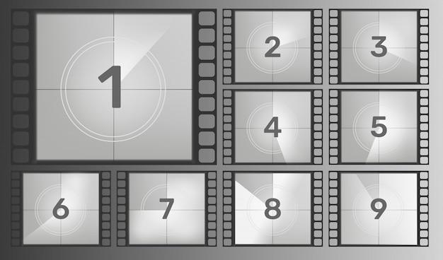 Фильм обратный отсчет на экране ретро винтаж кино фильм с таймером круга. урожай ретро кино.