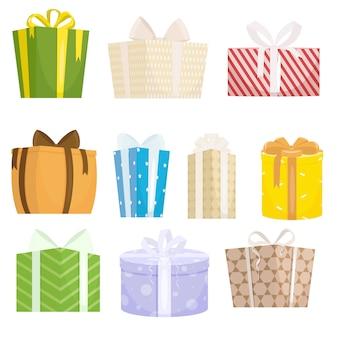 Набор подарочных коробок на белом фоне в мультяшном стиле