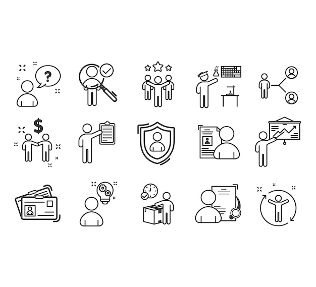 Набор иконок для совместной работы к успеху