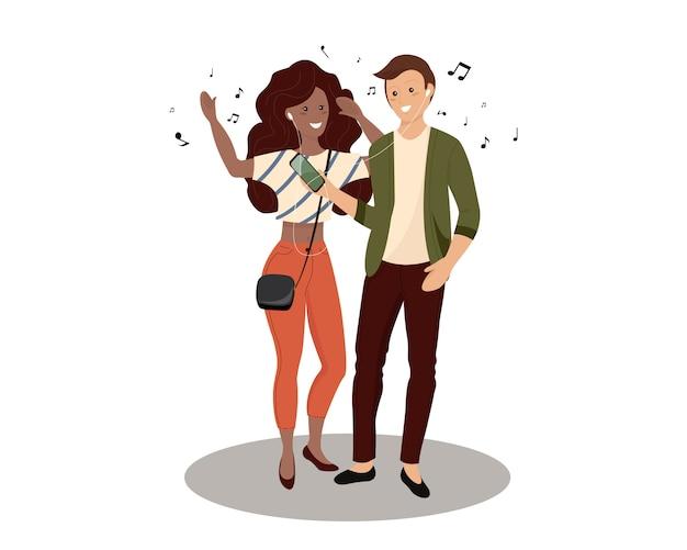音楽を聴くスマートフォンを保持している若い男性と女性の群衆。