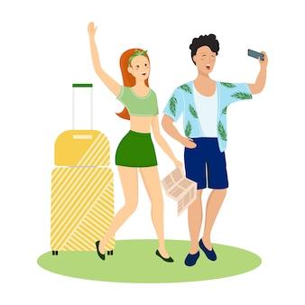 トラベルバッグを持つ観光客の幸せなカップル。夏休みの人々