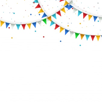 Праздничная гирлянда из треугольных разноцветных флагов и овсянки.