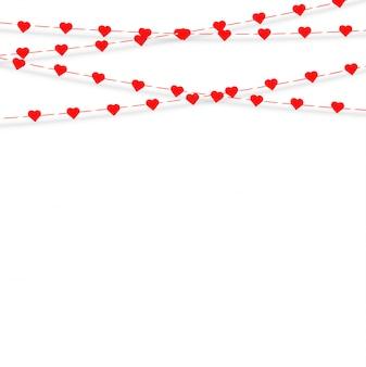 ハンギングハートのガーランド。ラブロマンスバレンタインデー