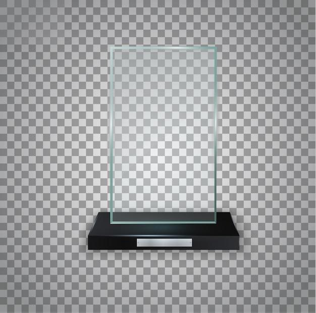 賞のための光沢のある透明な賞。クリスタルガラストロフィー。