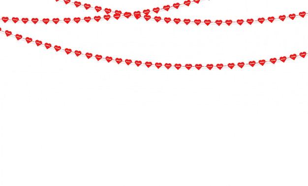 バレンタインの日に心をぶら下げてガーランド。