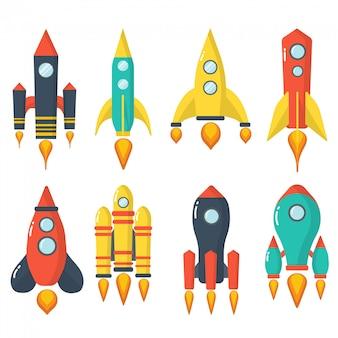 打ち上げロケットのセット。宇宙ロケットの打ち上げ。宇宙船。
