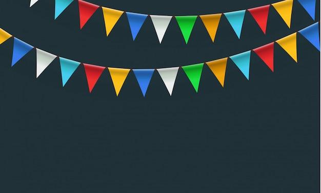青色の背景にカラフルな旗のお祝いガーランド。誕生日、休日、パーティーのための三角形の旗の花輪。虹色フラットスタイル、漫画デザイン