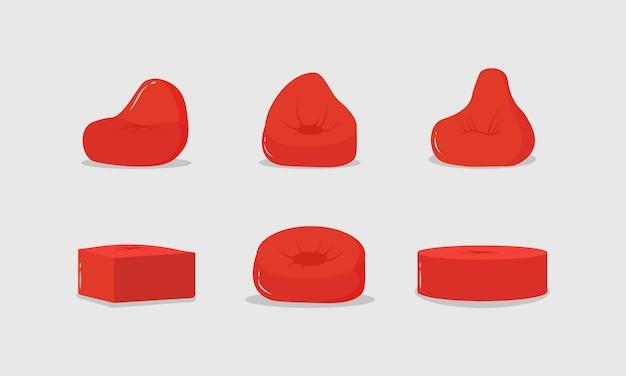 Набор красных пуфов, значок мягкой мебели, удобное пушистое кресло. красная подушка в круглой форме, сумка набита тканью на полу, интерьер дома.