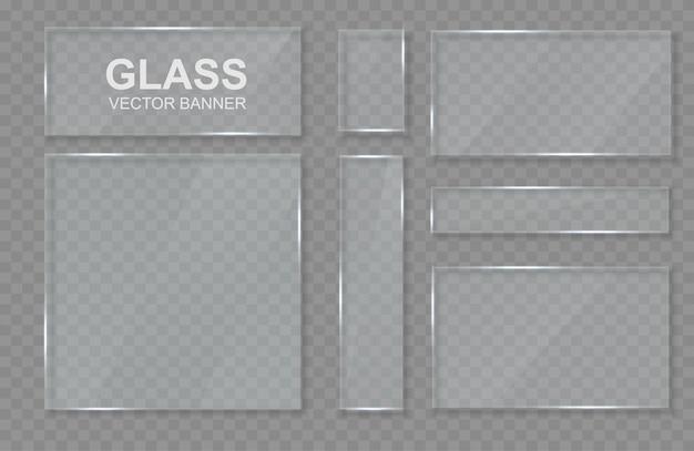 ガラス製の透明なバナーのセット。ガラスフレーム。