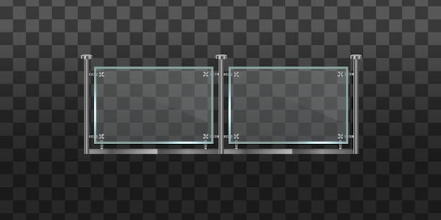 Секция стеклянных заборов с металлическими трубчатыми перилами и прозрачными листами для домашних лестниц, балкон дома. стеклянная балюстрада с металлическими перилами. перила или ограждения со стальными опорами.