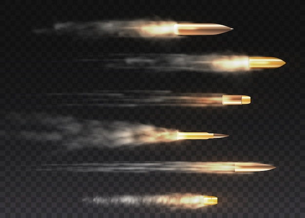 Реалистичная летающая пуля в движении. выстрелы, пуля в движении, военные дымовые тропы. следы дыма, изолированные на прозрачном фоне. пистолет стреляет по тропам.