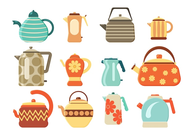 Плоский набор чайников. собрание чайников и чайников изолированных на белой предпосылке. кухонная утварь. бытовая техника для кипячения воды. горячий напиток.