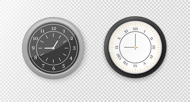 白と黒の壁のオフィスの時計のアイコンを設定します。モダンな白、黒の丸い壁掛け時計、黒い時計の文字盤と時計のモックアップ。ブランディングと広告のモックアップ。