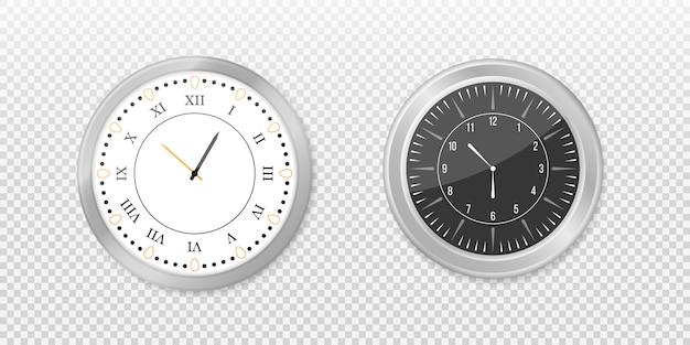 モダンな白、黒の丸い壁掛け時計、黒い時計の文字盤と時計のモックアップ。白と黒の壁のオフィスの時計のアイコンを設定します。