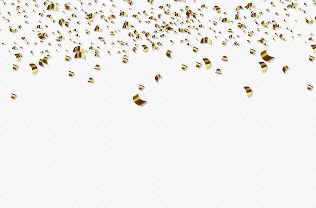 落ちてくる光沢のある金色の紙吹雪。