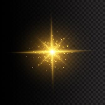 星は輝きをもって爆発しました。光線とスポットライトで太陽のフラッシュ。黄色の白熱灯の星。透明な背景に分離された特殊効果。