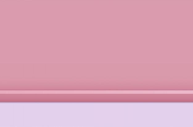 表彰台とピンクのスタジオルームの背景、台座の上の梁。