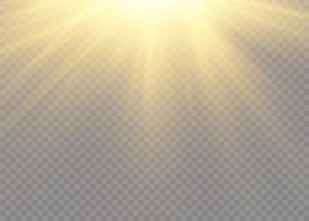 光線とスポットライトで太陽のフラッシュ。星は輝きをもって爆発しました。黄色の白熱灯は太陽光線です。透明な背景に分離された特別なライト効果。