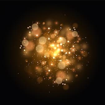 透明な背景に光のボケ味が分離されています。黄色いダスト黄色い火花と金色の星が特別な光で輝きます。輝く魔法のほこりの粒子。