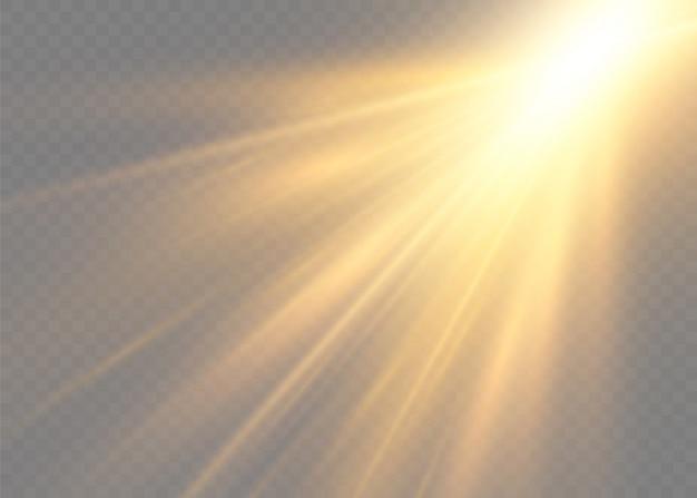 星は輝きをもって爆発しました。黄色の白熱灯は太陽光線です。光線とスポットライトで太陽のフラッシュ。透明な背景に分離された特別なライト効果。