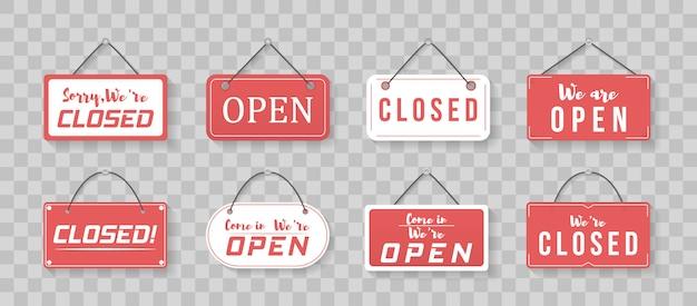 来て、私たちはオープンだというビジネスサイン。さまざまなオープンとクローズのビジネスサインのイメージ。ロープで看板。