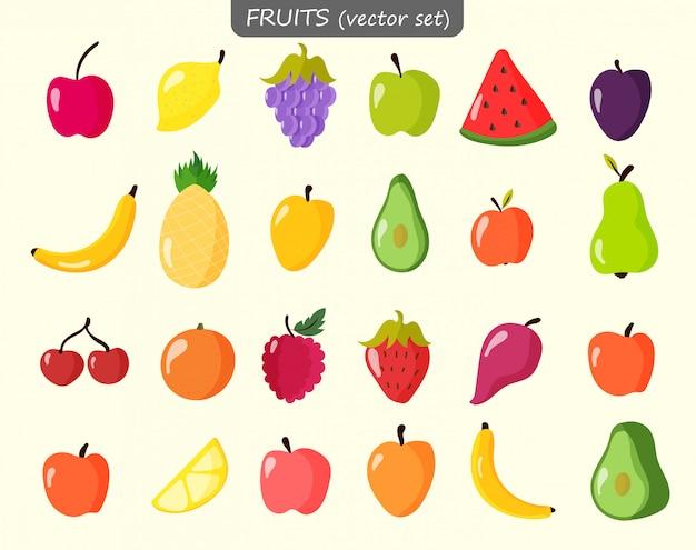 Плоды арбуза, персика, лимона, апельсина в плоском стиле.