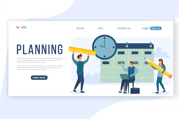 Концепция планирования людей. группа персонажей людей разрабатывает план. стратегия управления проектами и финансовой отчетности. можно использовать для веб-баннера, инфографики, изображения героя. иллюстрации.