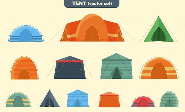 自然の中でのキャンプやハイキングのためのマルチカラーのテント。