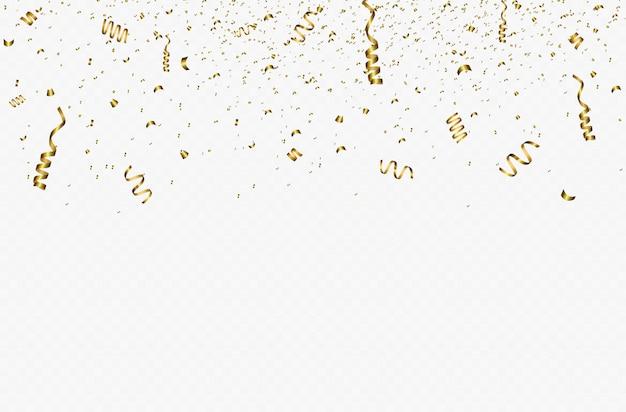 金色の紙吹雪とゴールドのリボンでお祭りの背景。透明な背景に分離されたゴールドカラーで落ちる光沢のある紙吹雪。