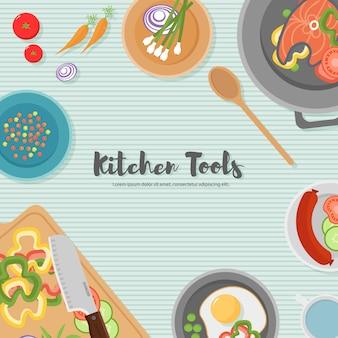 キッチンで健康食品を調理します。木製のテーブルで便利なお食事。健康的な食事、野菜。台所用品の上面図