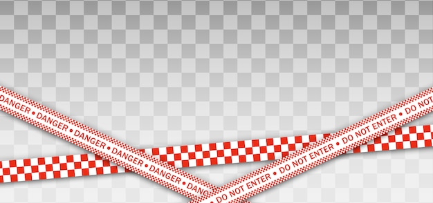 赤い警察ライン警告テープ、危険、注意テープ。隔離地域