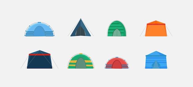 白い背景で隔離され、さまざまな角度から示されたテントのセット。自然の中でのキャンプや屋外のお祝い用のマルチカラーテント。