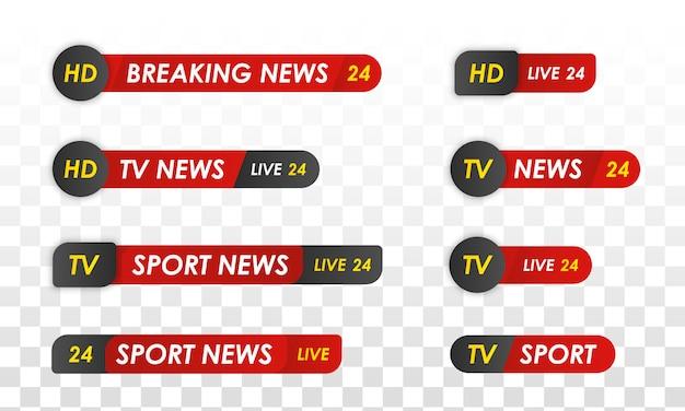 テレビニュースバー。スポーツニュース。テレビ放送メディア。