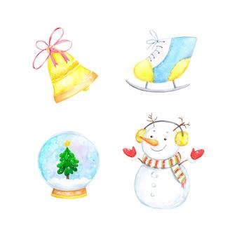 Набор зимних иллюстраций, снеговик, снежный шар, украшения, акварель