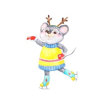 スケート、水彩、キャラクターに新年のマウスのシンボル