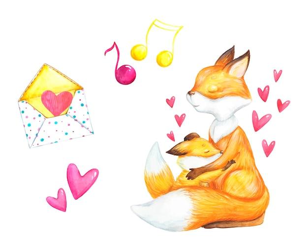 恋のフォックス、バレンタインの日、ロマンス、水彩イラスト