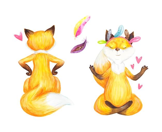フォックス瞑想、バレンタインデー、ロマンス、水彩イラスト