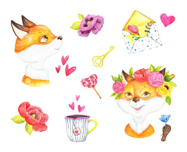かわいいキツネ、バレンタインデー、ロマンス、水彩イラスト