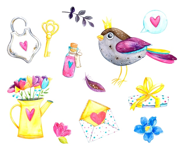 バレンタインの日、ロマンス、愛、水彩イラストのセット