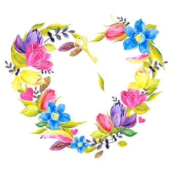 Венок из цветов, романтики, дня святого валентина, акварельной иллюстрации