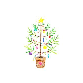 Рождественская елка, акварельные иллюстрации, украшения