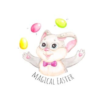 イースターのウサギの水彩イラスト