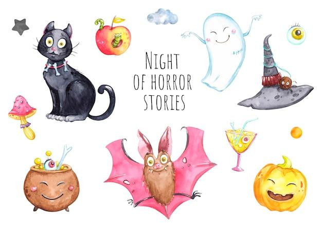 Набор иллюстраций к хэллоуину, акварели, ночь всех святых