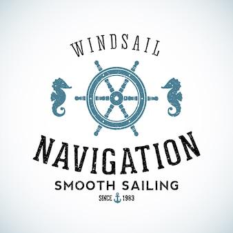 Шаблон логотипа морской навигации с потертой текстурой.