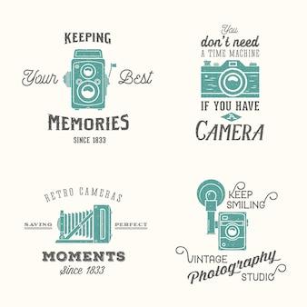ビンテージカメラの写真ラベルまたはレトロなタイポグラフィのロゴ