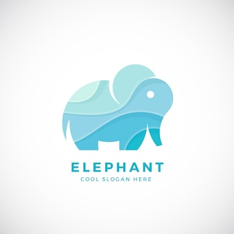 Шаблон логотипа крошечные слон, знак или значок. креативная стилизация.