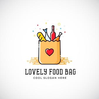 ハート記号、パン、ワイン、魚などの素敵な食品紙バッグ。ロゴのテンプレート。ショッピングや配達のサイン。ケータリングアイコン。