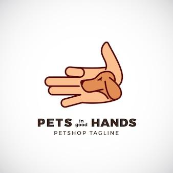 Зоомагазин эмблема или шаблон логотипа. ладонь в стиле линии с силуэтом лица собаки.