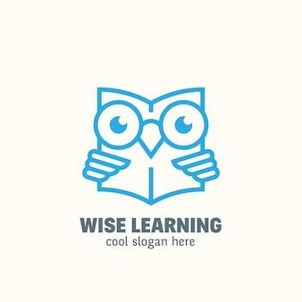 ラインスタイルのスマート教育のロゴのテンプレート。エンブレムを学ぶ。