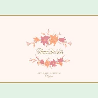 Лилии, эмблема или шаблон логотипа. ручной обращается цветы кадр с ретро типографии и классический фон.